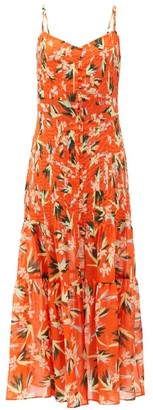 Solid & Striped The Tilda Floral-print Pleated Cotton Dress - Orange Print