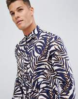 Celio Long Sleeve Slim Fit Shirt With Stretch In Leaf Print