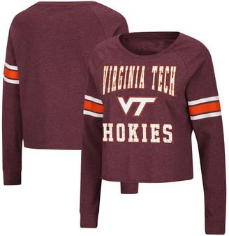 Colosseum Women's Maroon Virginia Tech Hokies Whimsical Striped Rhinestone Long Sleeve T-Shirt