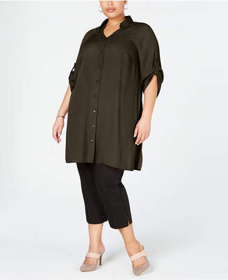 Alfani Plus Size Roll-Tab Tunic Shirt