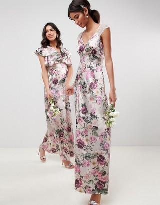 Asos Design DESIGN lace insert maxi dress in pretty floral print-Multi