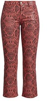 Thumbnail for your product : J Brand Selena Mid-Rise Snakeskin-Print Crop Bootcut Jeans