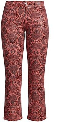 J Brand Selena Mid-Rise Snakeskin-Print Crop Bootcut Jeans