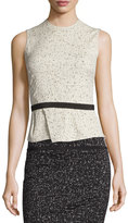 Narciso Rodriguez Sleeveless Jewel-Neck Printed Jacquard Top, Ivory