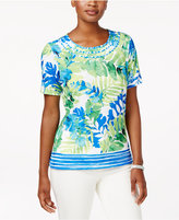 Alfred Dunner Petite Tropical-Print Top