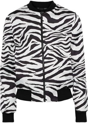 Alice + Olivia Lonnie Reversible Zebra-print Satin Bomber Jacket