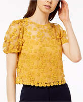 French Connection Floral-Lace Illusion Top