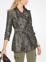 Michael Kors Floral Satin Jacquard Trench Coat