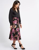 Marks and Spencer Floral Jacquard A-Line Midi Skirt