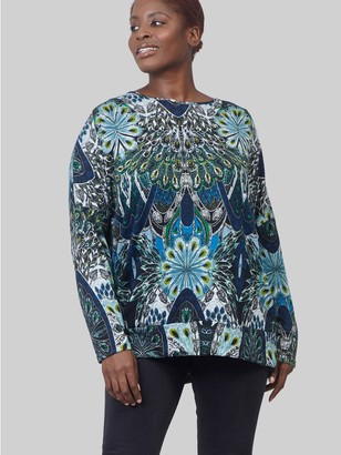 M&Co Izabel Curve eastern print longline sweater