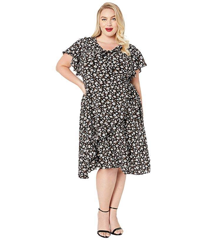 Plus Size 1940s Floral Print Luella Wrap Dress