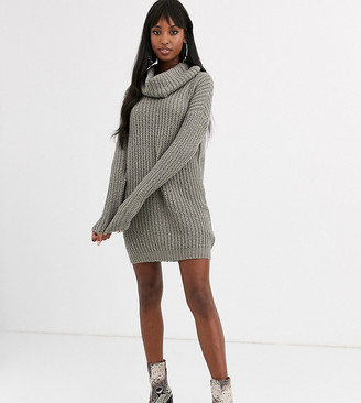 Brave Soul Tall soda cowl neck sweater dress in gray