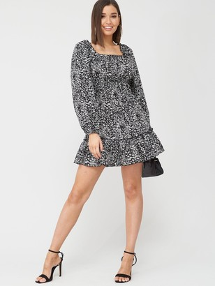 AX Paris Ditsy Square Neck Dress - Black