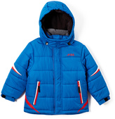London Fog Blue & Red Logo Puffer Coat - Boys
