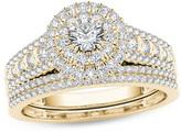 Zales 1 CT. T.W. Diamond Double Frame Multi-Row Bridal Set in 14K Gold