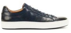 HUGO BOSS Low Top Trainers In Burnished Calf Leather - Dark Blue