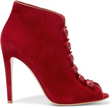 Gianvito Rossi Leather-trimmed Suede Ankle Boots - Red