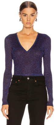 Veronica Beard Esmeralda V Neck Pullover Top in Purple | FWRD