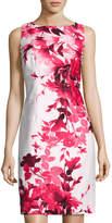 Chetta B French-Dart Floral-Print Sheath Dress, Red Pattern