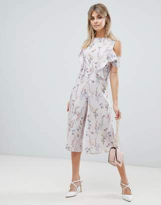 Love ditsy floral print skater jumpsuit with ruffle detail-Grey