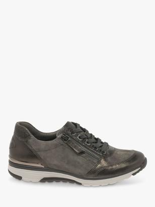 Gabor Henshaw Wide Fit Suede Metallic Trainers, Grey/Bronze