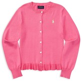 Ralph Lauren Girls' Ruffled Pima Cotton Cardigan - Big Kid