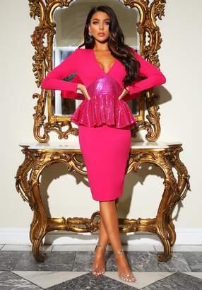 Pink Boutique Midnight Hour Hot Pink Sequin Peplum Midi Dress