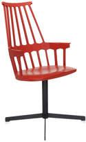 Kartell Comback Chair Swivel Base - Orange Red