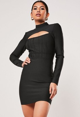 Missguided Premium Black Bandage Cut Out Long Sleeve Corset Dress