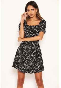 AX Paris Women's Floral Printed Puff Sleeve Ditsy Dress