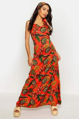 boohoo Woven Bright Palm Maxi Dress With Printed Head Scarf