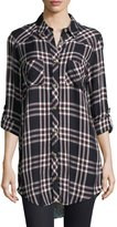 Tolani Tina Plaid Mixed-Media Tunic