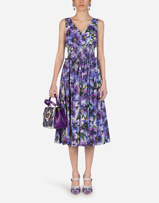 Dolce & Gabbana Anemone-Print Cotton Dress