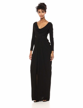 Adrianna Papell Women's Long Sleeve Jersey Dress with Cowl Neckline