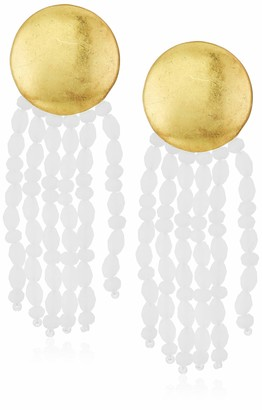 Lucky Brand Women's Gold Circle and White Dangle Beads Post Earrings One Size