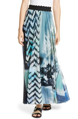 Fuzzi Floral & Chevron Print Maxi Skirt