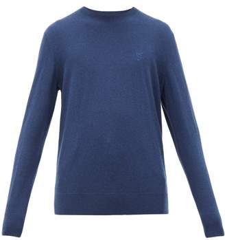Burberry Logo Embroidered Cashmere Sweater - Mens - Blue