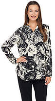Liz Claiborne New York Rose Print LongSleeve Blouse