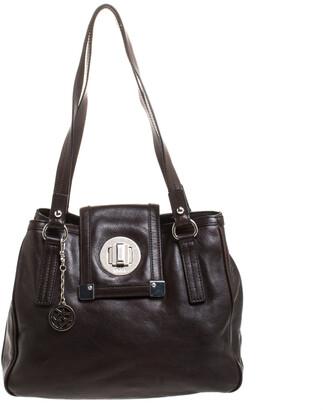 DKNY Dark Brown Leather Push Lock Shoulder Bag