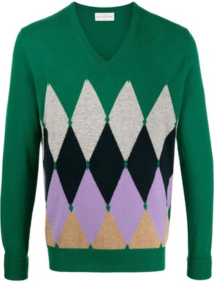 Ballantyne argyle knit V-neck sweater