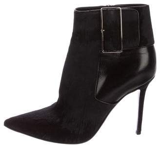 Christian Dior Distressed Ponyhair Ankle Boots