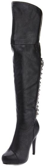 Charlotte Russe Lace-Up Back Thigh High Boot
