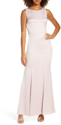 Chi Chi London Ayse Lace Back Satin Trumpet Gown