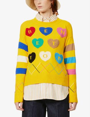 Benetton Heart intarsia knitted jumper