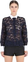 Valentino Contrasting Collar Cotton Lace Shirt