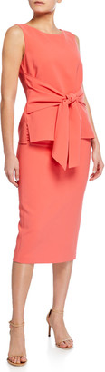 Lafayette 148 New York Lucy Sleeveless Tie-Front Finesse Crepe Dress