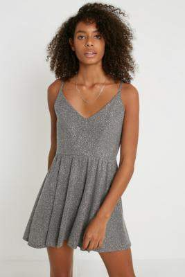 Urban Outfitters Vanessa Sparkle Playsuit - silver XS at