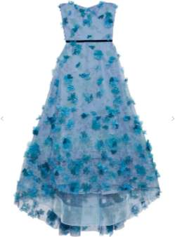 Marchesa Blue Strapless Tulle Gown