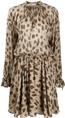Anine Bing keyhole neck leopard printed silk day dress
