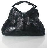 R & Y Augousti R&Y Augousti Black Ostrich Leather Magnetic Closure Satchel Handbag